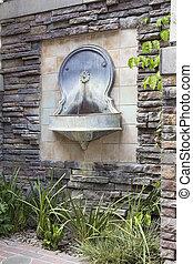 eau, style, mur, cour, fontaine, toscan