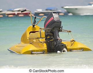 eau, style, vieux, scooter