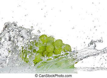 eau, sur, éclaboussure, raisins blancs