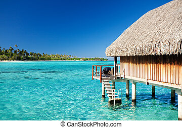 eau, sur, bungalow, étapes, lagune