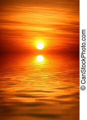 eau, sur, levers de soleil