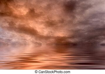 eau, sur, nuages
