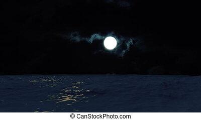 eau, sur, refléter, lune, océan