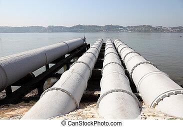 eau, sur, système rivière, eaux égout