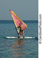 eau, surfeur