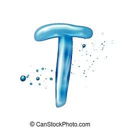 eau, t, lettre, 3d