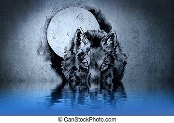 eau, tatouage, tête, wolf's, réflexions
