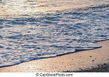 eau, time., vague, mer, soir
