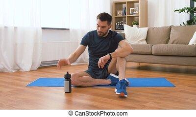 eau, traqueur, fitness, maison, boire, homme