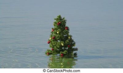 eau, turquoise, arbre, exotique, fond, plage, noël