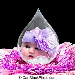 eau, type caractère bébé, goutte