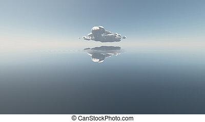 eau, unique, nuage
