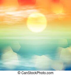 eau, vague, coucher soleil, temps