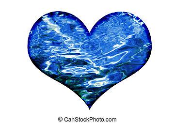 eau, vagues, coeur