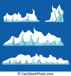 eau, vecteur, iceberg, isolé, illustration