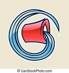 eau, vecteur, seau, rouges, illustration