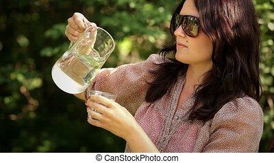 eau, verser, boire, frais