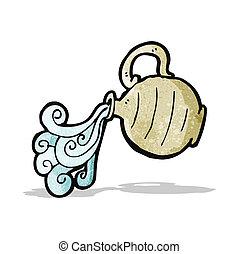 eau, verser, dessin animé, cruche
