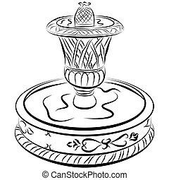 eau, victorien, fontaine, dessin ligne