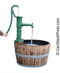 eau, vieux façonné, pompe