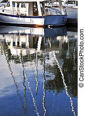 eau, voiliers, amarré, refléter