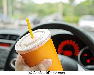 eau, voiture, boire, chauffeur