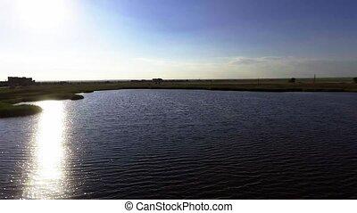 eau, voler, reflet, au-dessus, lac