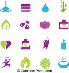 eau, wellness, et, zen, icônes
