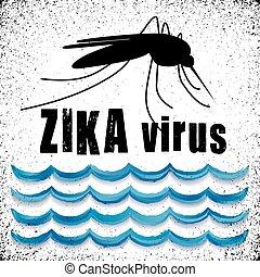 eau, zika, debout, virus, moustique