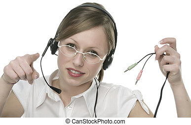 eautiful Customer Representative with headset smiling during a telephone conversation