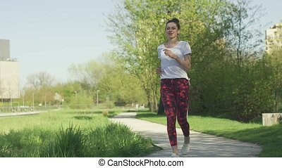 eautiful, nő, közben, reggel, tréning