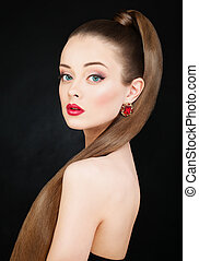 eauty brunette model sexy girl with long healthy smooth brown hair, long eyelashes, perfect makeup. Ponytail Hairstyle. Beautiful Woman with Straight fashion hair, eyelashes and hair extensions