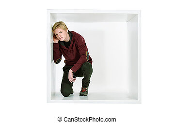 eavesdrop - Young man in casual clothes sitting in white...