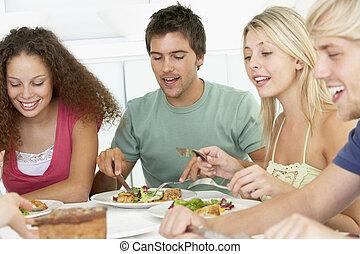 ebédel, barátok, birtoklás, együtt, otthon