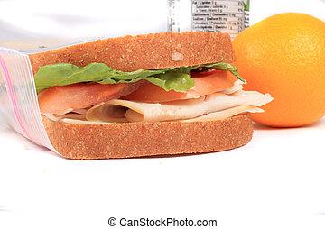 ebédel, zipped, szendvics, táska, műanyag