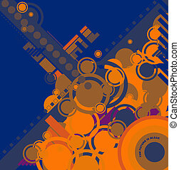 ebb flow blue and orange - a modern blue circular design for...