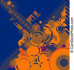 ebb flow blue and orange - a modern blue circular design for...