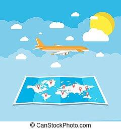 eben, reise, fliegendes, bestimmungsort