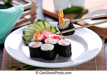 ebi, cucina, rotolo sushi, giapponese