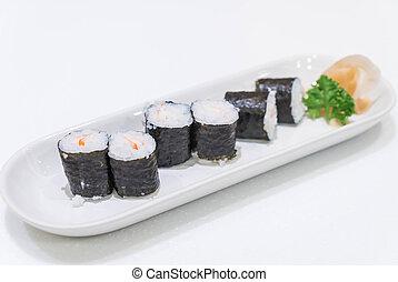 Ebi Roll Maki on white plate