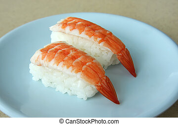 Ebi sushi prawns on rice traditional japanese food