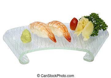 Ebi sushi ,Shrimp sushi isolated on white background