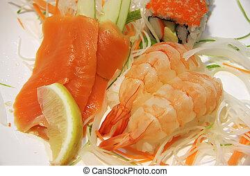 Ebi sushi traditional japanese cuisine raw prawns with rice