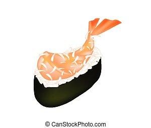 Ebi Tempura Sushi or Fried Shrimp Nigiri - Japanese Cuisine,...