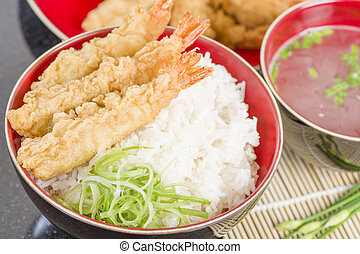 Ebi Tendon - Prawn tempura on top of boiled rice served with...