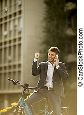 ebike, 電話, 使うこと, モビール, ビジネスマン, 若い