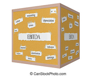EBITDA 3D cube Corkboard Word Concept with great terms such...