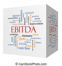 EBITDA 3D cube Word Cloud Concept with great terms such as...