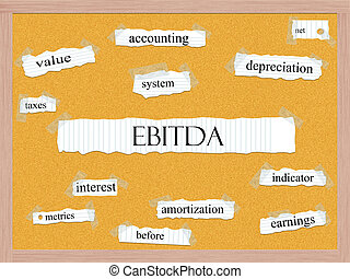 EBITDA Corkboard Word Concept