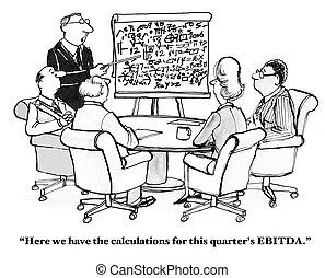 EBITDA - Business cartoon about EBITDA.